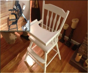 antique high chair painting